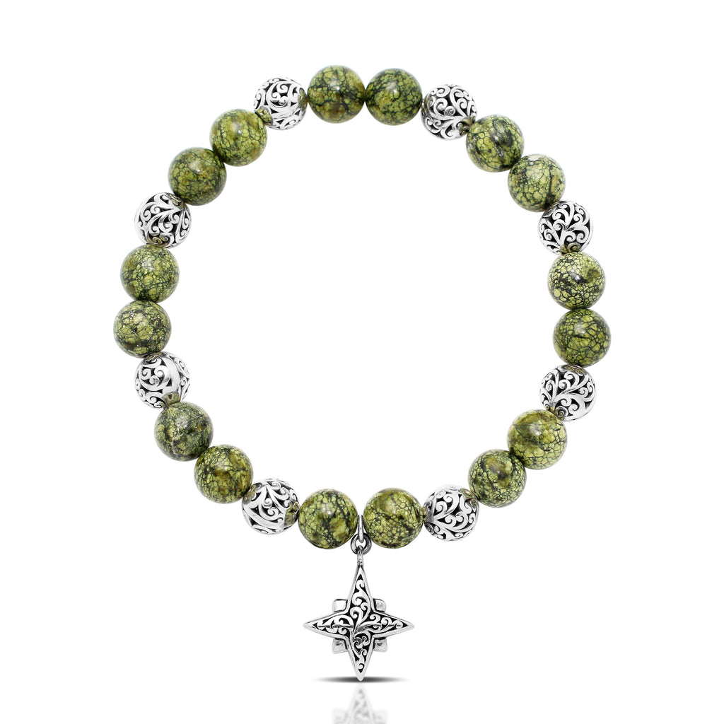 Green Turquoise Bead (8mm) with Scroll Sterling Silver Bead and Star Cross Hang Stretch Bracelet