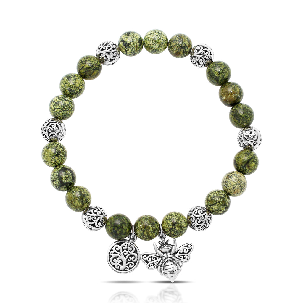 Green Turquoise Bead (8mm) with Scroll Sterling Silver Bead and Bee Hang Stretch Bracelet