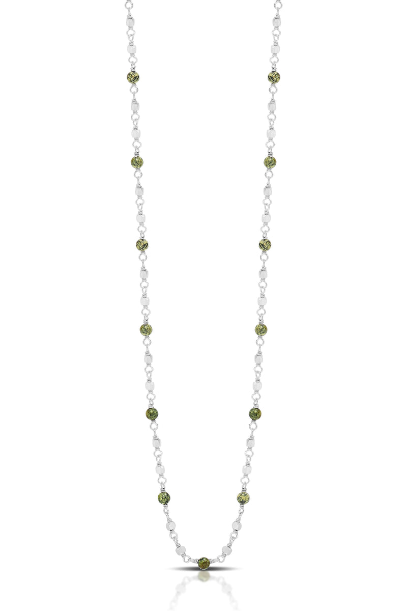 "Green Turquoise Bead Sterling Silver Bead Single Strand Necklace. 18"" Chain"