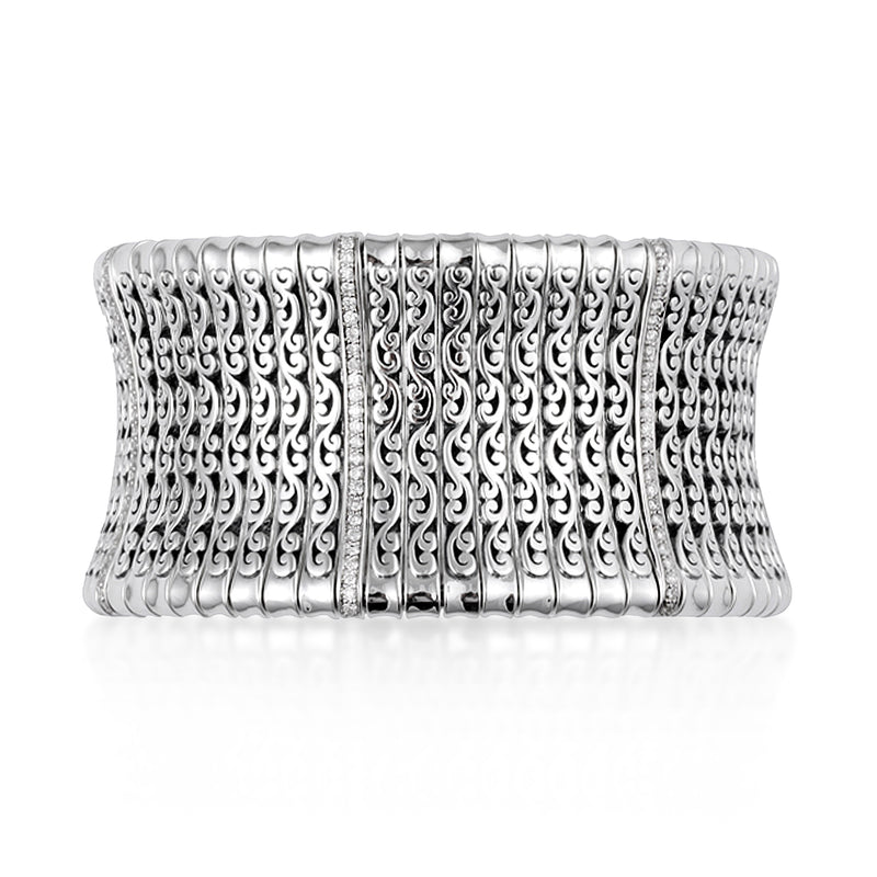 LH Signature Scroll Bracelet with White Diamond Line