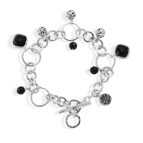 Classic Cutout Balls and Diamond-Shapes Black Onyx Dangle Bracelet