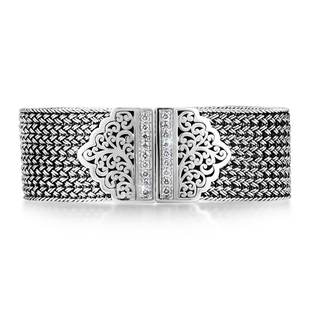 Textile Weave Classic Signature Cutout with Diamond Bracelet - Lois Hill Jewelry