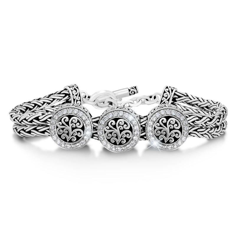 Woven Bracelet w/Round Signature Scroll and White Diamond Accents Bracelet.