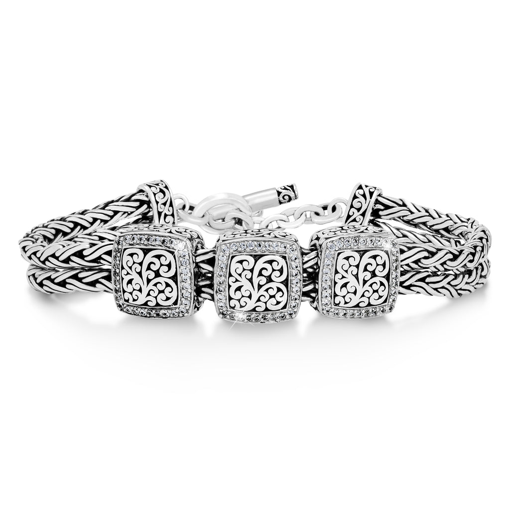 Woven Bracelet w/Square Signature Scroll and White Diamond Accents Bracelet