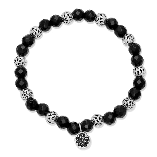 Classic Cutout and 6mm Black Onyx Stretchy Bracelet