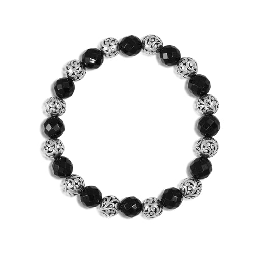 Classic Cutout and 8mm Black Onyx Stretchy Bracelet