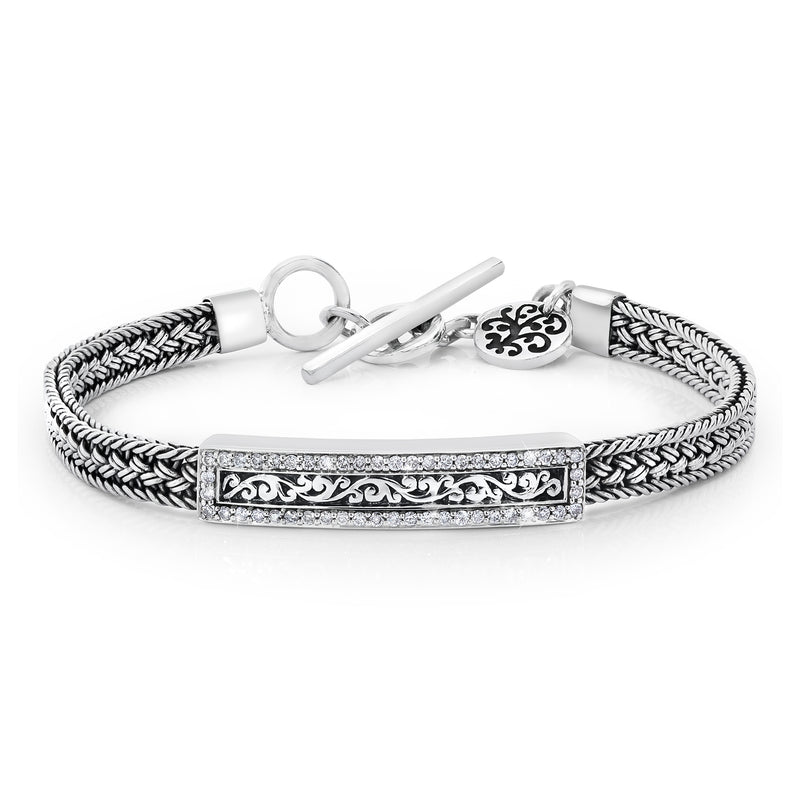 Woven Bracelet w/Signature Scroll and White Diamond Station - Lois Hill Jewelry