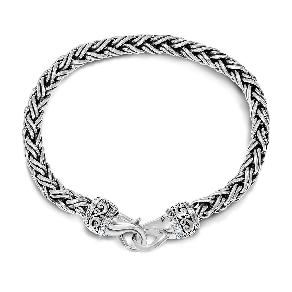 White Diamond Classic Woven Signature Scroll Bracelet - Lois Hill Jewelry