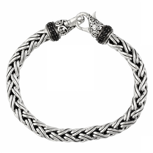 Black Sapphire, Classic Woven Signature Scroll Bracelet - Lois Hill Jewelry