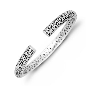 LH Carved Signature Scroll Hinged Cuff with Pave Diamond Center in Sterling Silver