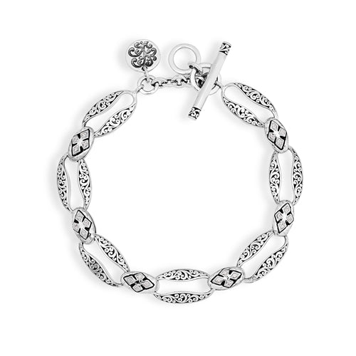 Silver and Diamond Link Bracelet - Lois Hill Jewelry
