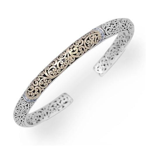 18K Gold and Silver Open Scroll Cuff w/Diamond Accents
