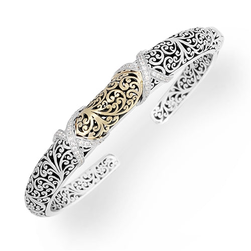 18K Carved Scroll White Diamond Criss Cross Cuff