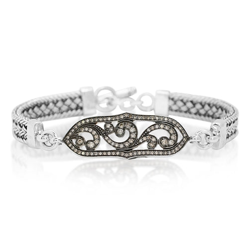 Brown Diamonds, Open Scroll ID Textile Bracelet - Lois Hill Jewelry