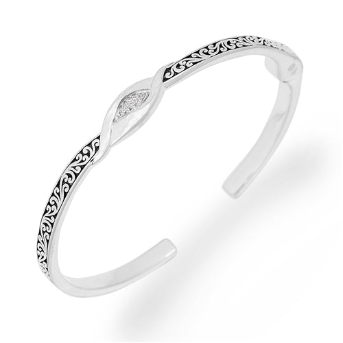 Extra Small Twisted Scroll Cuff w/Diamond Center - Lois Hill Jewelry