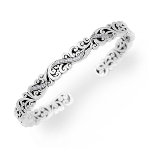 LH Cutout Signature Scroll Hinged Cuff with White Diamond Accents in Sterling Silver