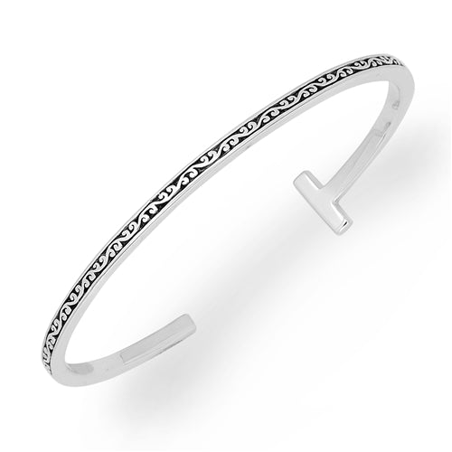 LH Signature Sterling Silver Scroll Slim Cuff with White Diamond Bar