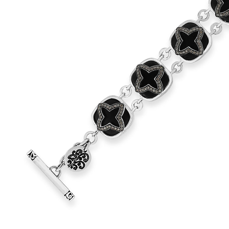 Brown Diamond & Matte Black Onyx Star Station Bracelet. 7 1/8'' Wrist