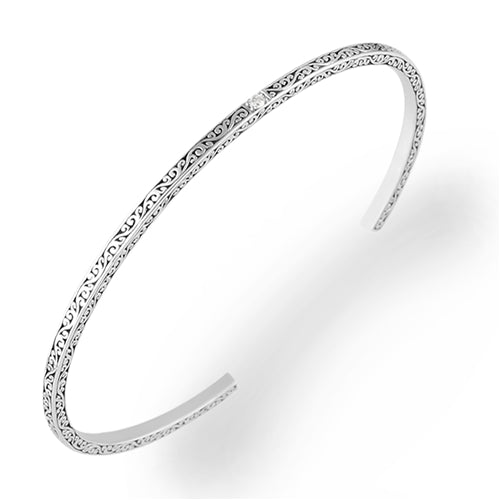 LH Signature Sterling Silver Scroll Slim Cuff with White Diamond Accent