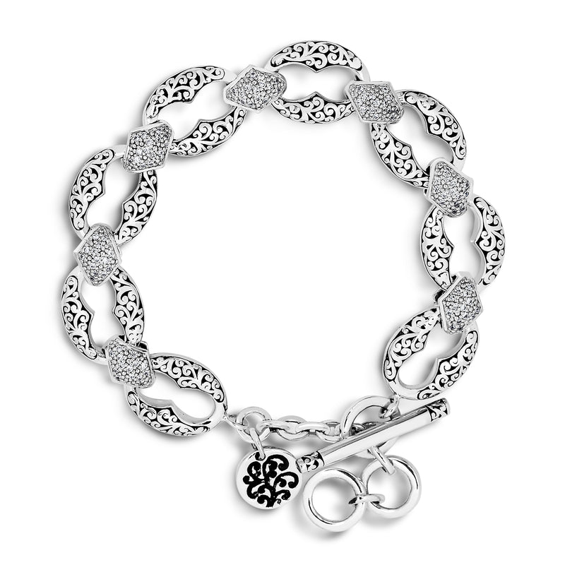 White Diamond, Signature Carved Scroll Link Bracelet