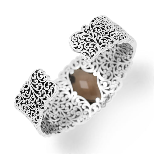 Large Signature Open Scroll & Smoky Quartz Cuff - Lois Hill Jewelry