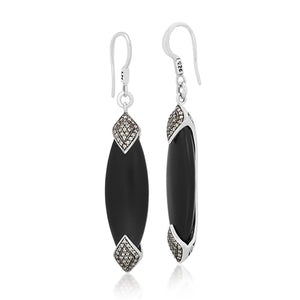 Brown Diamond & Matte Black Onyx Marquise Earrings - Lois Hill Jewelry