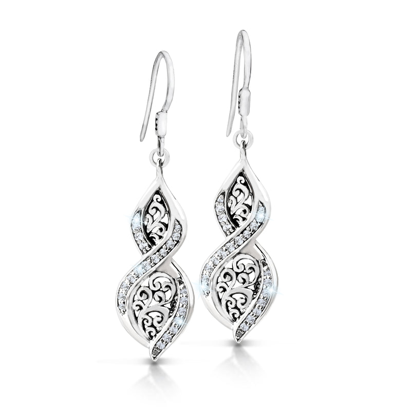 Twist Signature Scroll Drop Earrings with Diamond. - Lois Hill Jewelry