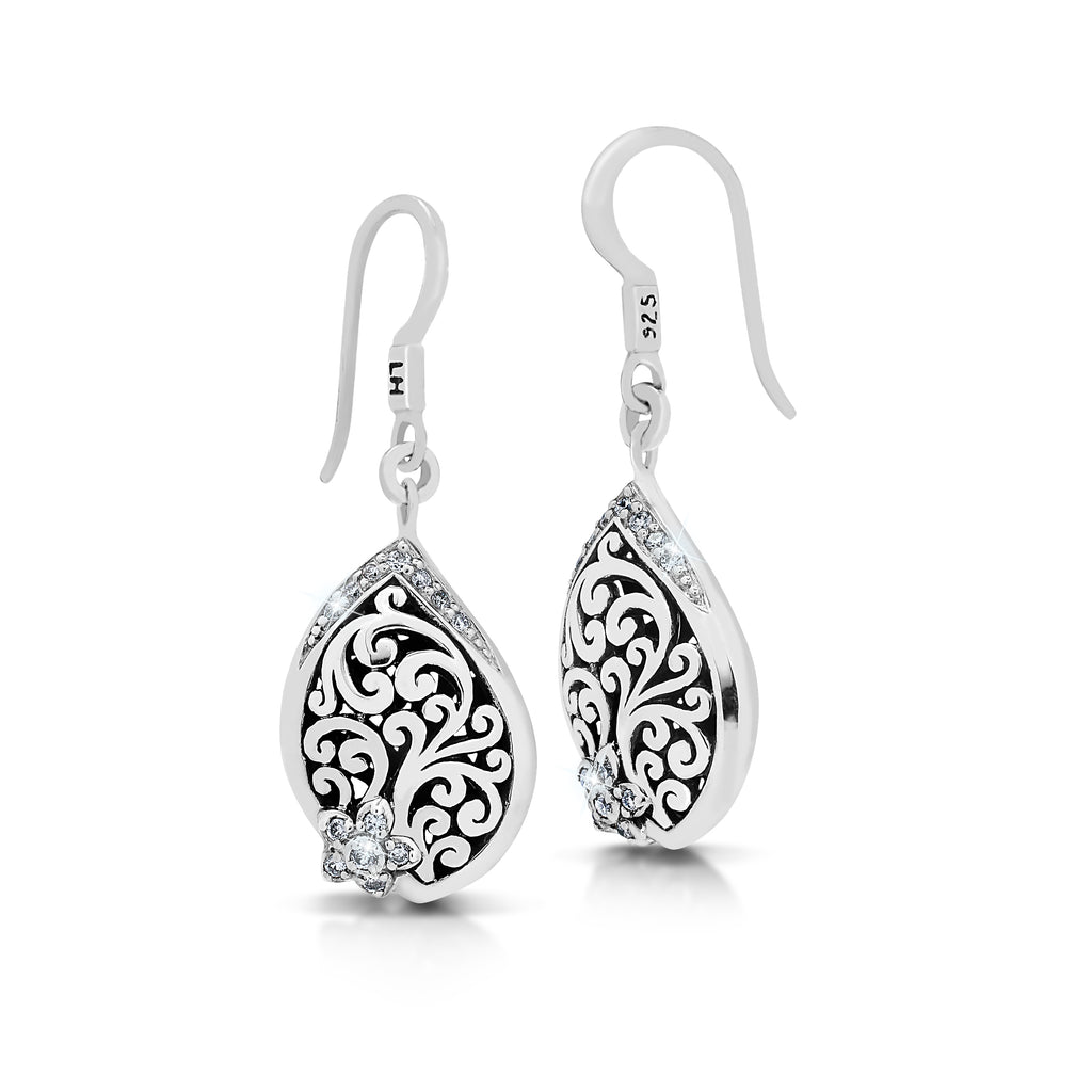 Classic Open Scroll with Small Flower Diamond Drop Earrings - Lois Hill Jewelry