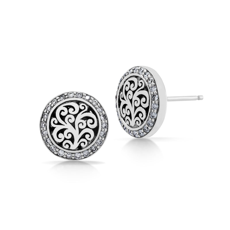 Signature Scroll with Diamond Accents Post Earrings - Lois Hill Jewelry