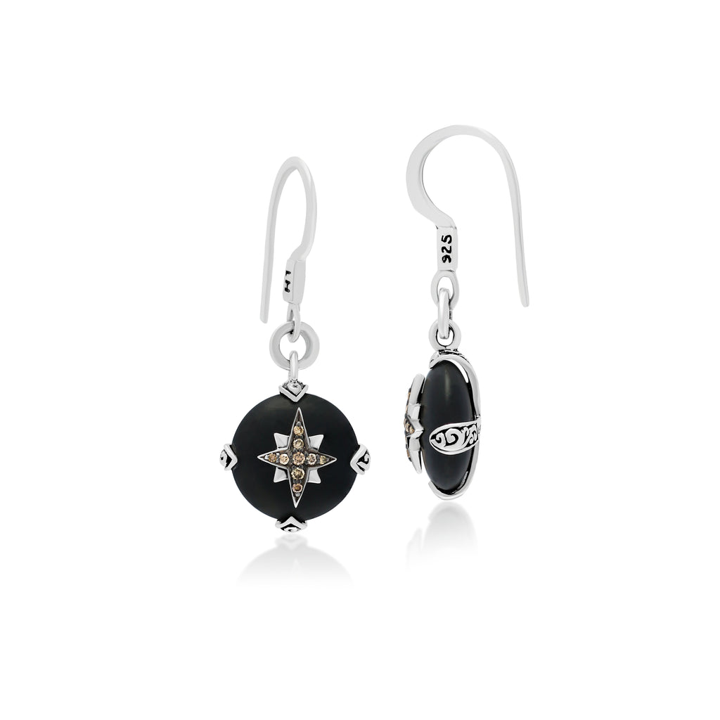 Brown Diamond & Matte Black Onyx Starburst Earrings
