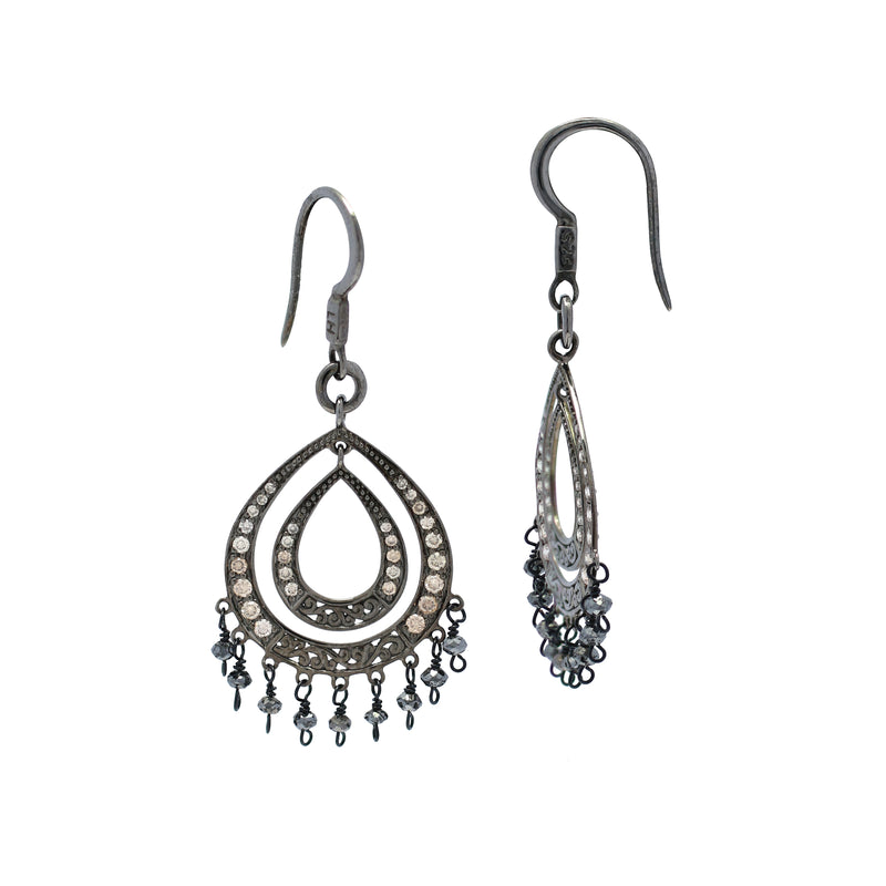 Rough Cut Black Diamond Wire-Wrapped with Brown Diamond Teardrop on Black Rhodium-Plated Chandelier Fishook Earrings. 20mm x 34mm Earrings (2.64 ct)