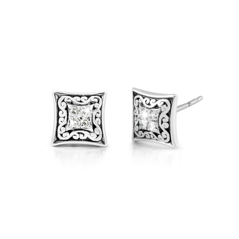 Classic Signature Scroll Post Earrings & Diamond. 10mm X 10mm (0.11 ct.)