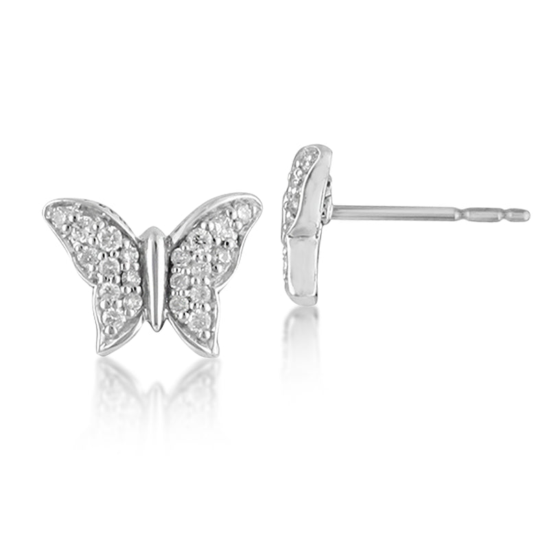 White Diamond Butterfly Stud Earrings in Sterling Silver - Lois Hill Jewelry