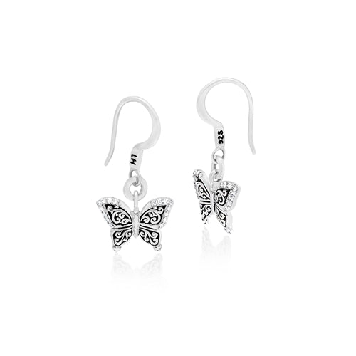 LH Hand Carved Scroll sm Butterfly Diamond Drop Earrings - Lois Hill Jewelry