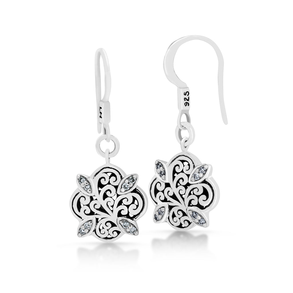Classic Signature Scroll with Diamond Drop Earrings - Lois Hill Jewelry