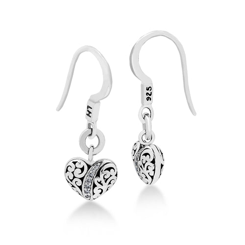 LH Hand Carved Scroll sm Heart Diamond Drop Earrings - Lois Hill Jewelry