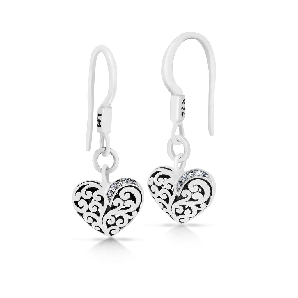 Classic Heart Signature Scroll with Diamond Drop Earrings - Lois Hill Jewelry