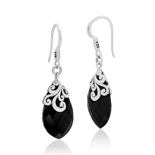 Classic Open Scroll Black Onyx Drop Earrings