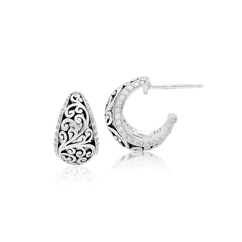 Classic Cutout Scroll and Diamond Earrings