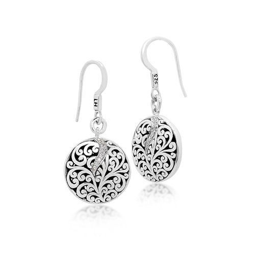 Cutout Scroll Drop Earrings w/Diamond Accent - Lois Hill Jewelry
