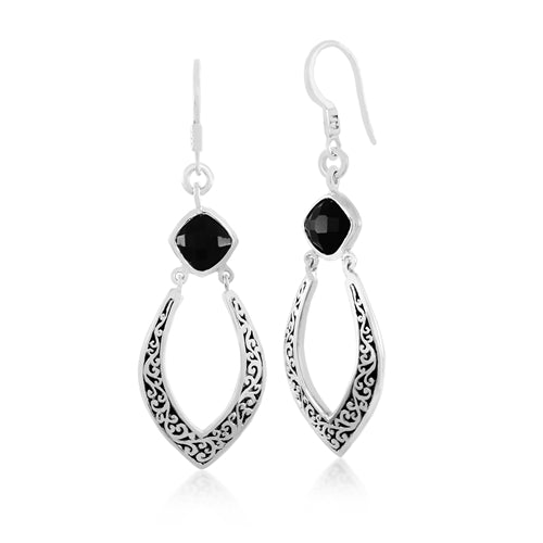 Classic Cutout Scroll and Black Onyx Drop Earrings - Lois Hill Jewelry