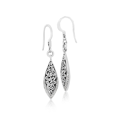 Scroll Marquise Diamond Earrings - Lois Hill Jewelry