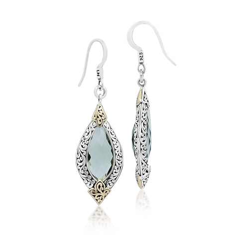18K & Sterling Silver Green Quartz Drop Earrings