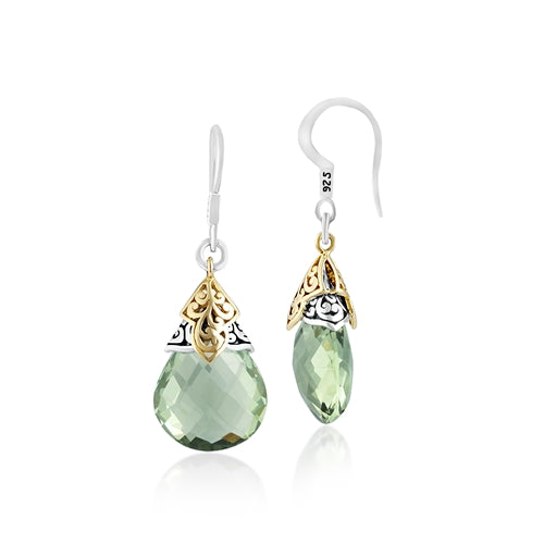18K & Sterling Silver, Green Quartz Gemstone Earrings - Lois Hill Jewelry