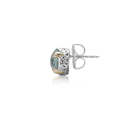 18K & Sterling Silver Green Quartz Stud Earrings