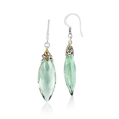 18K Gold & Sterling Silver, Green Quartz Earrings - Lois Hill Jewelry