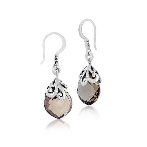 Signature Open Scroll Smoky Quartz Teardrop Earrings