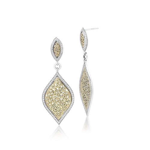 18K Gold Open Scroll Diamond Dangle Earrings
