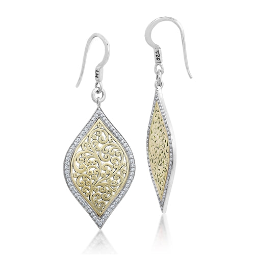 Open Scroll Bulb 18K Gold & Diamond Earrings - Lois Hill Jewelry