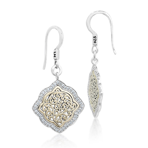 18K Gold Flat Open Scroll Diamond Earrings